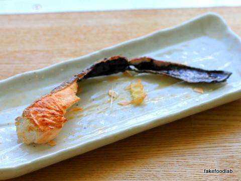 食品サンプル食べかけの焼き鮭