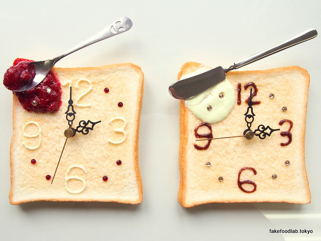 食品サンプルトースト時計 ジャム&マーガリン