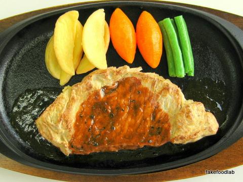 食品サンプル鉄板ステーキ