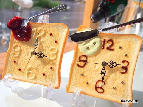食品サンプルトースト時計ジャム安堵マーガリン